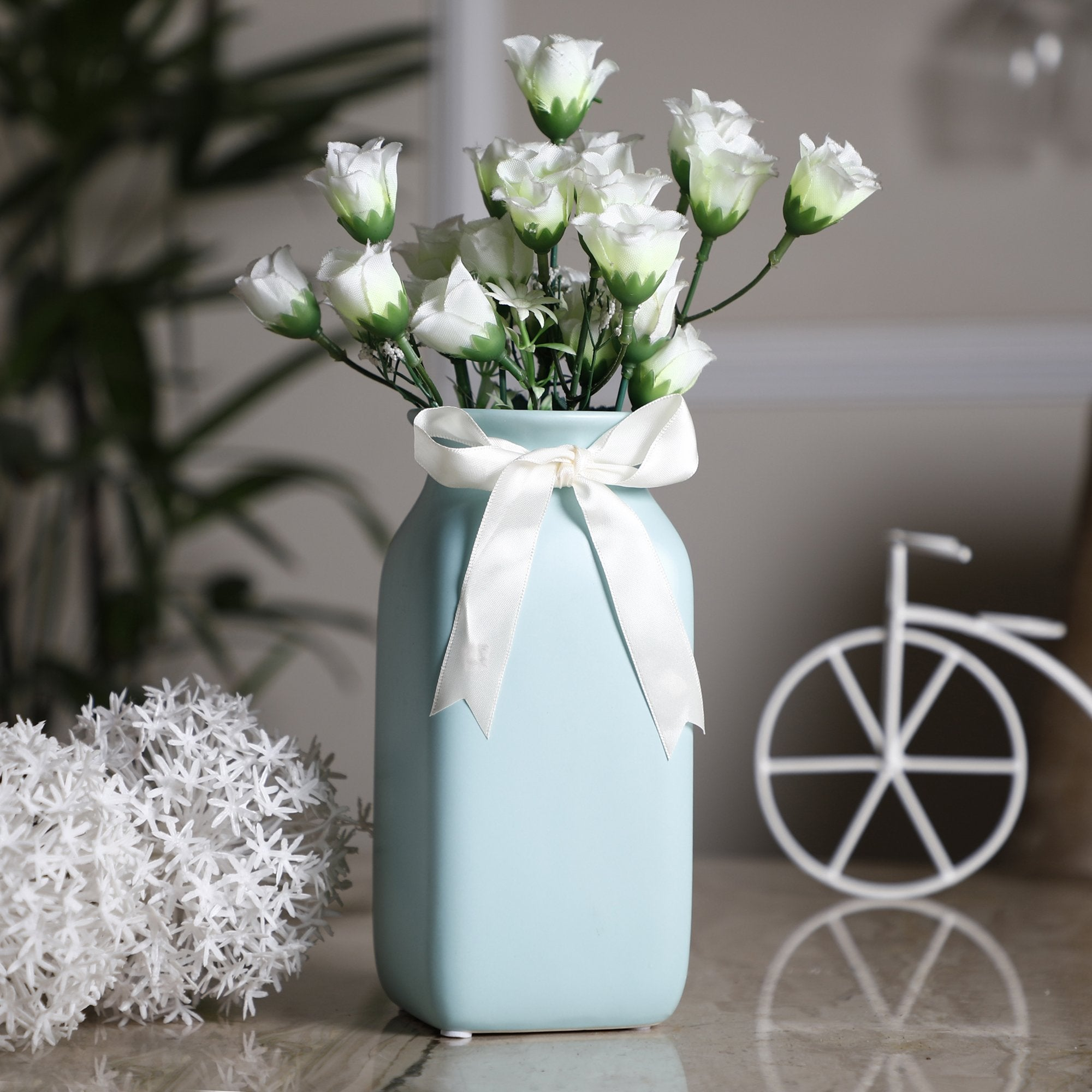 Flower Pot With Bow Square Light Blue