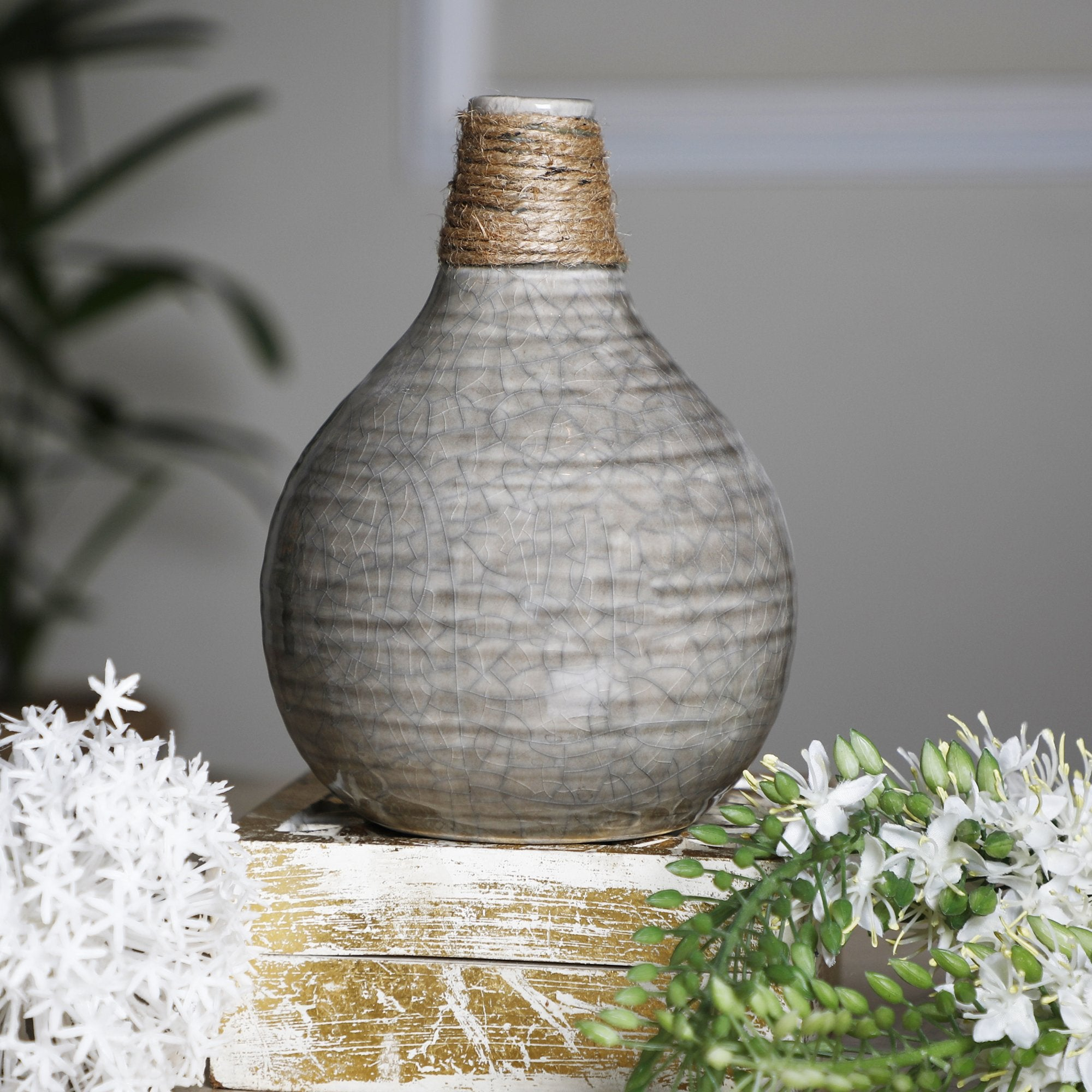 Flower Vase With Jute Thread Dark Grey
