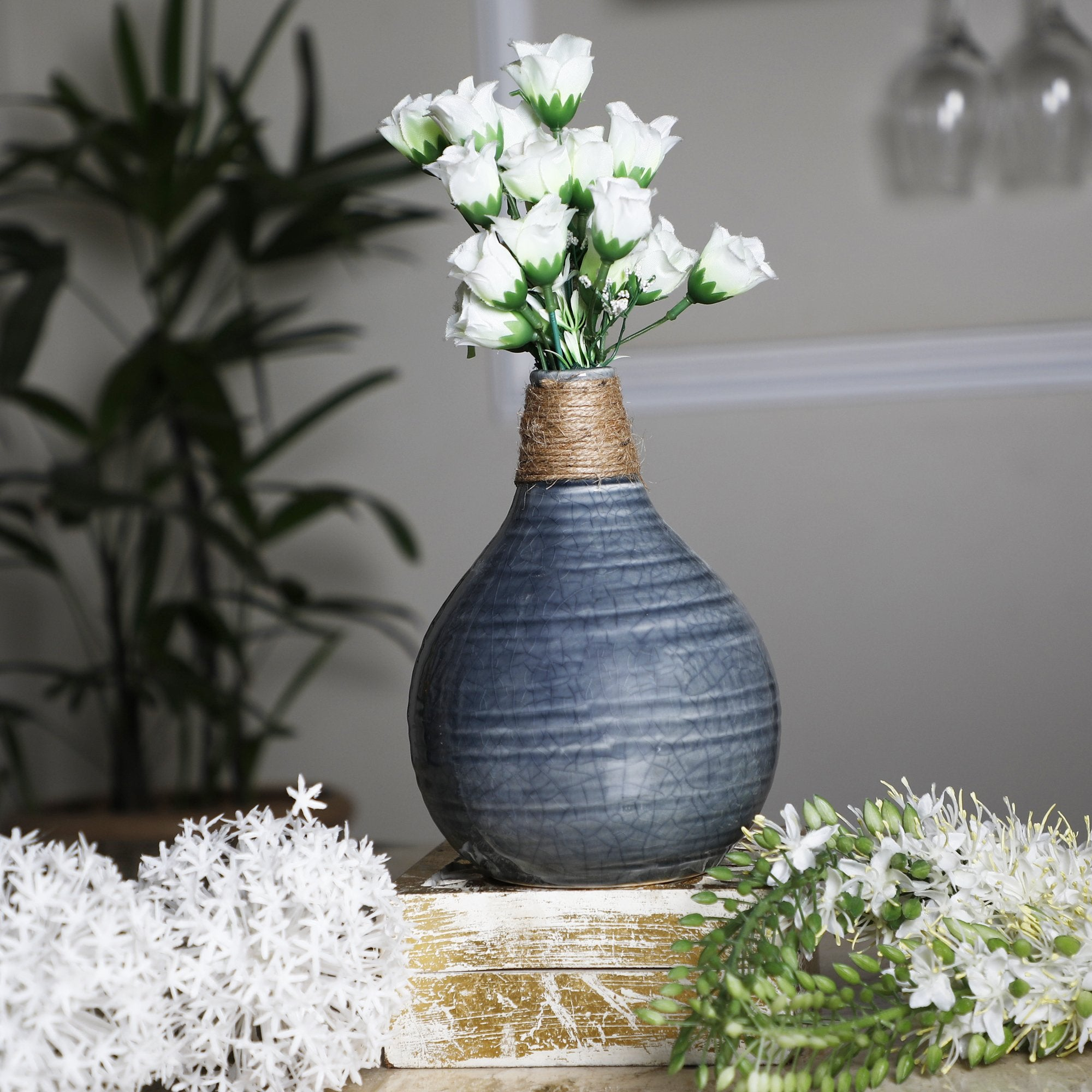 Flower Vase With Jute Thread Olive Green