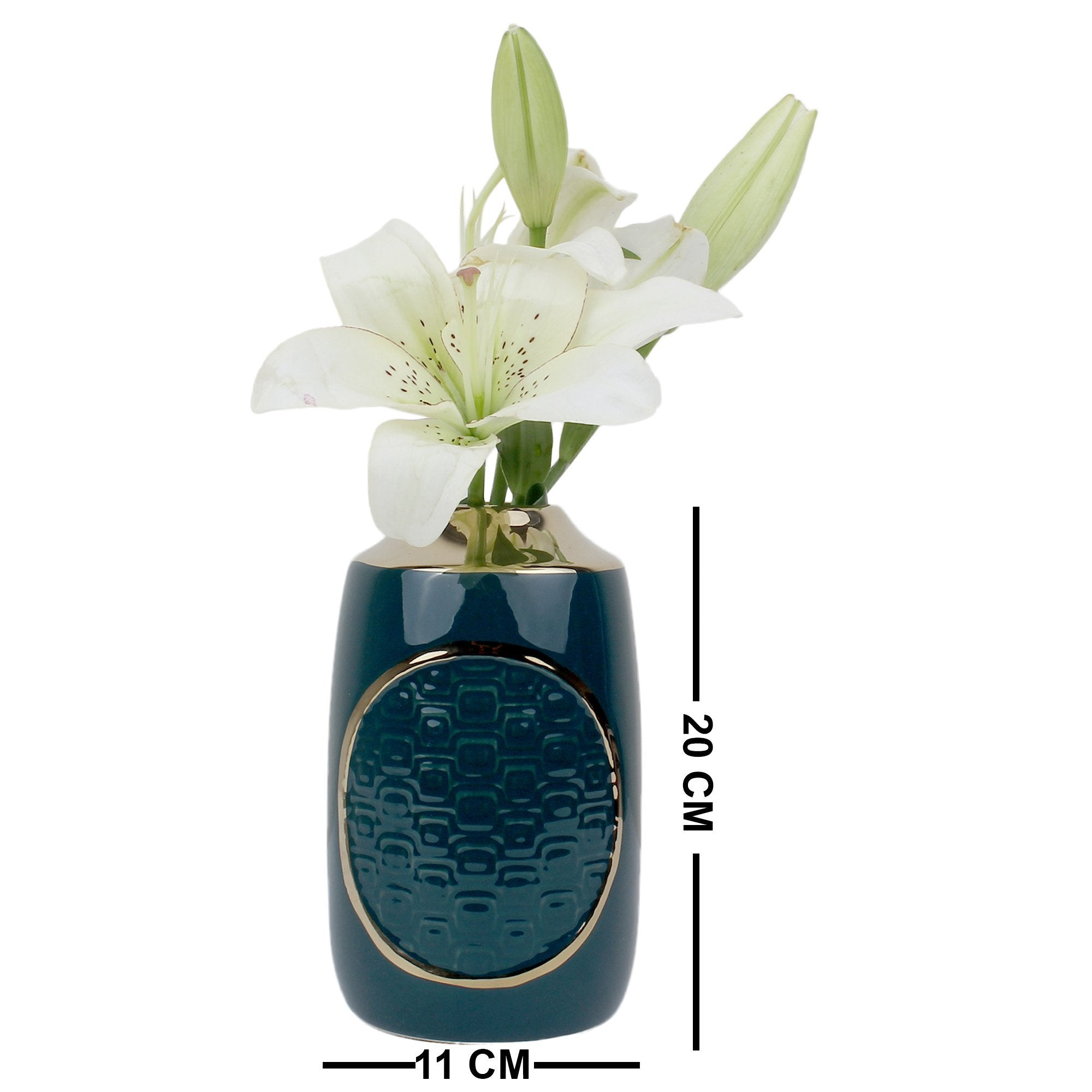 Flower Vase Green & Golden Closed Mouth