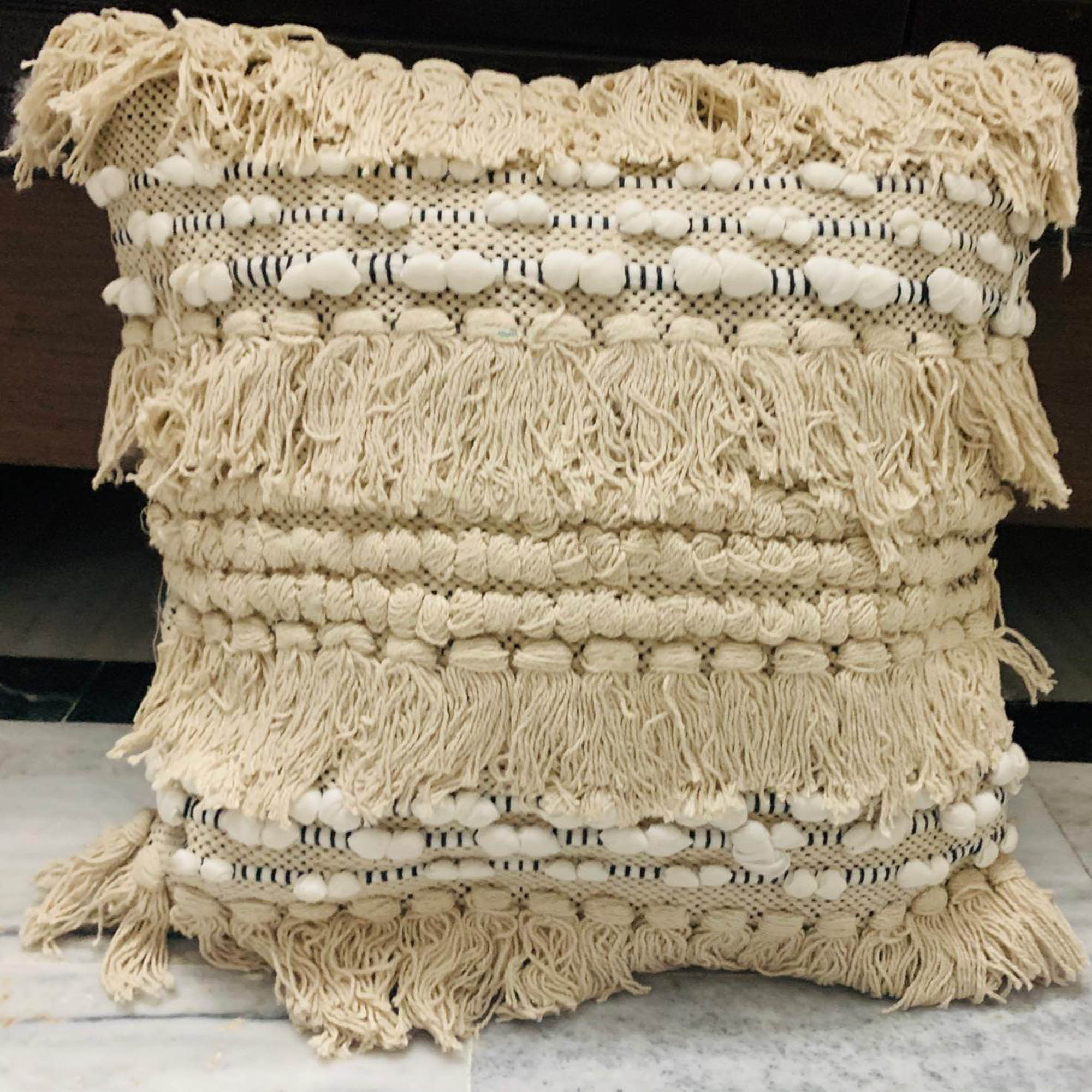 Hand-woven Cotton Thread Cushion Cover