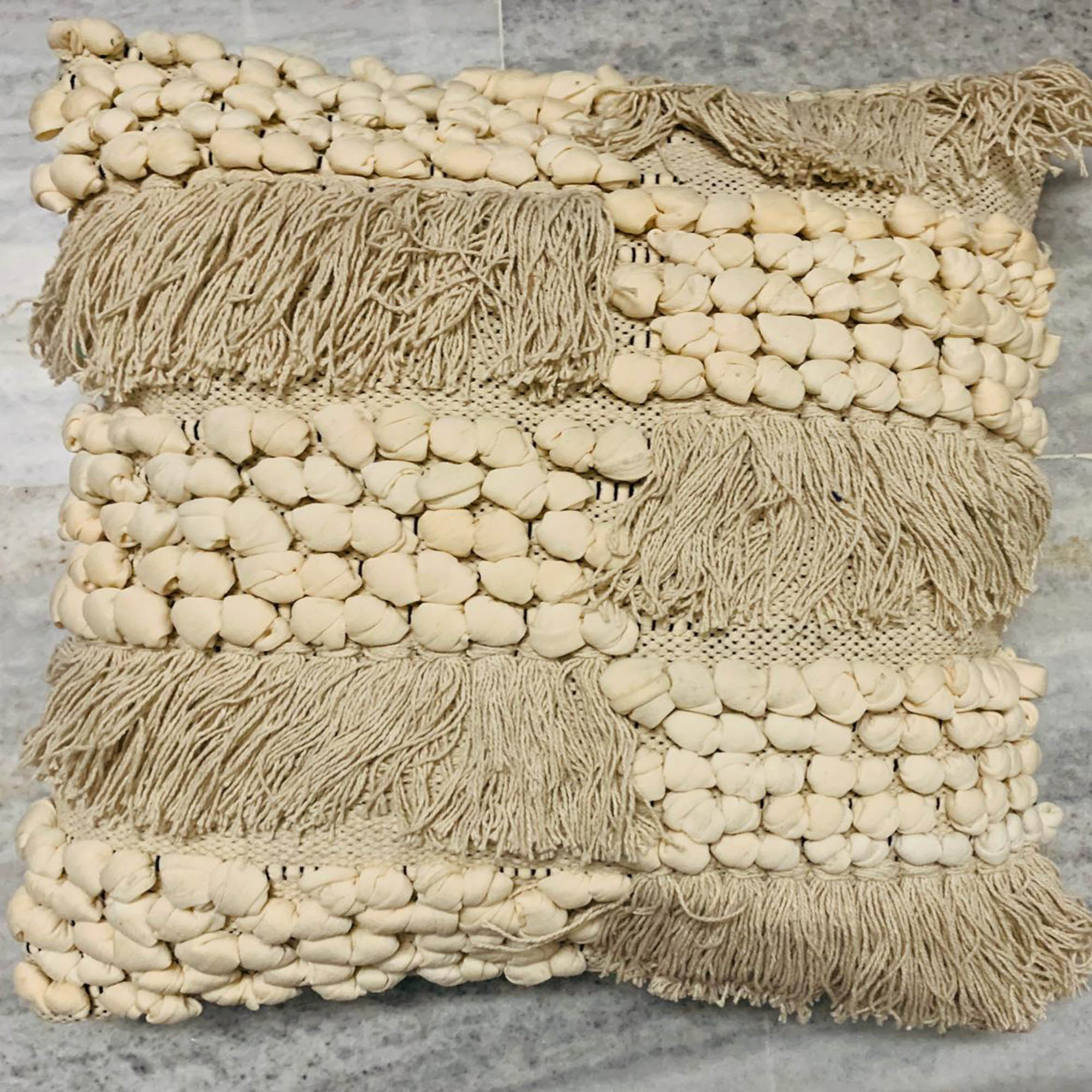 Beige color Pebbles & Tassel work cushion covers - Teak Tale