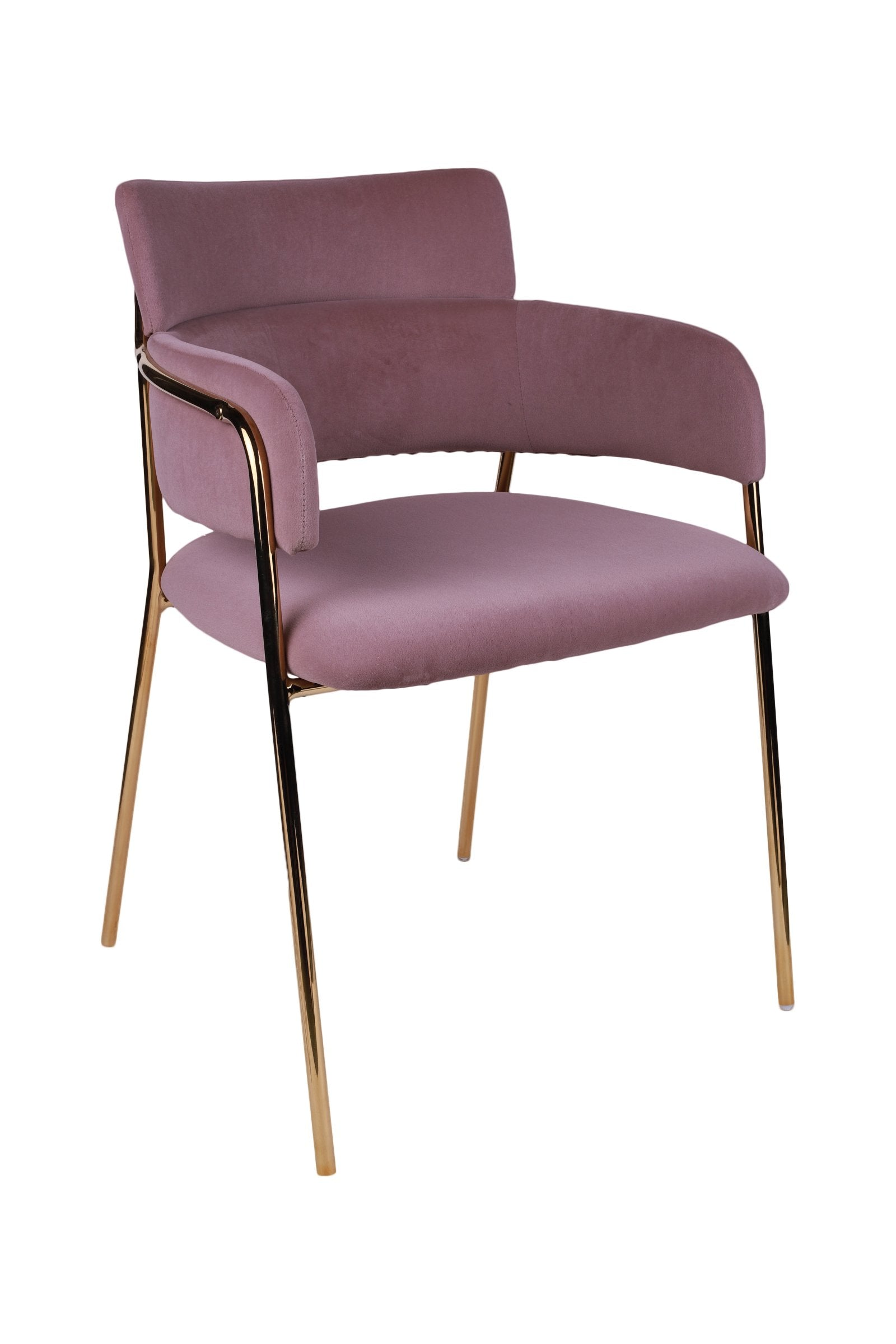 Pink Velvet Touch Chromed Gold Chair