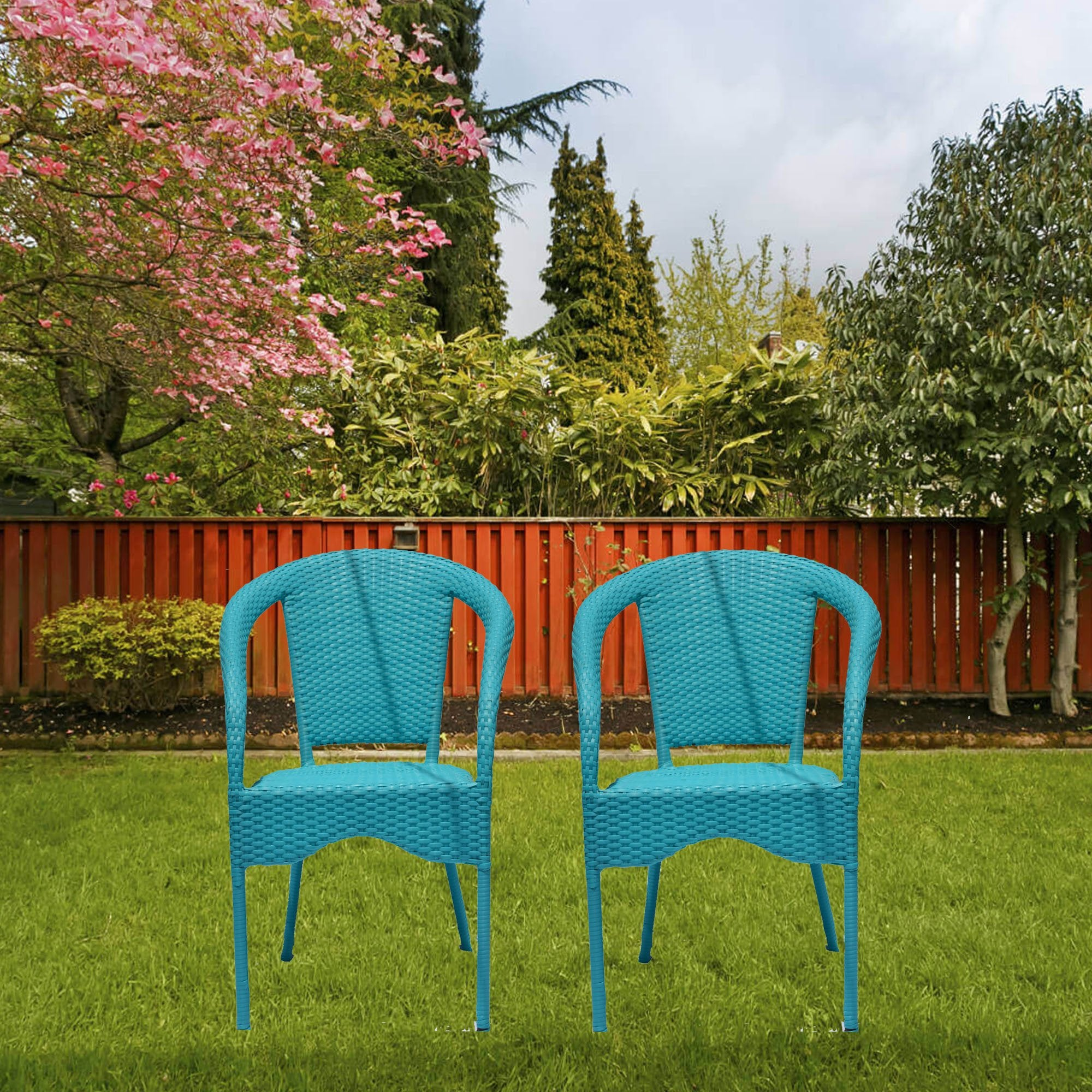 Fluorescent Blue Color Outdoor Furniture Set