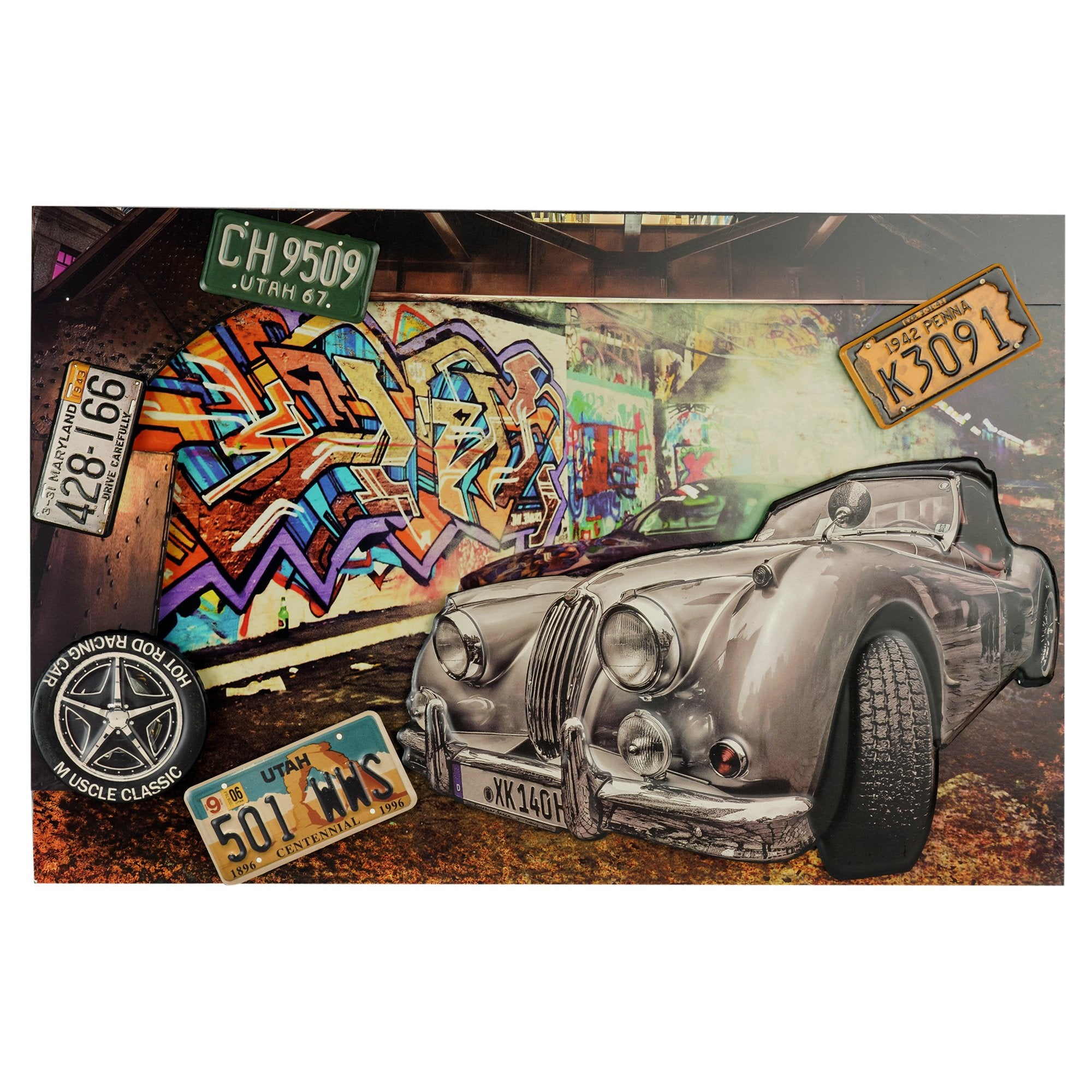 Vintage Car Wall Plaque - Teak Tale