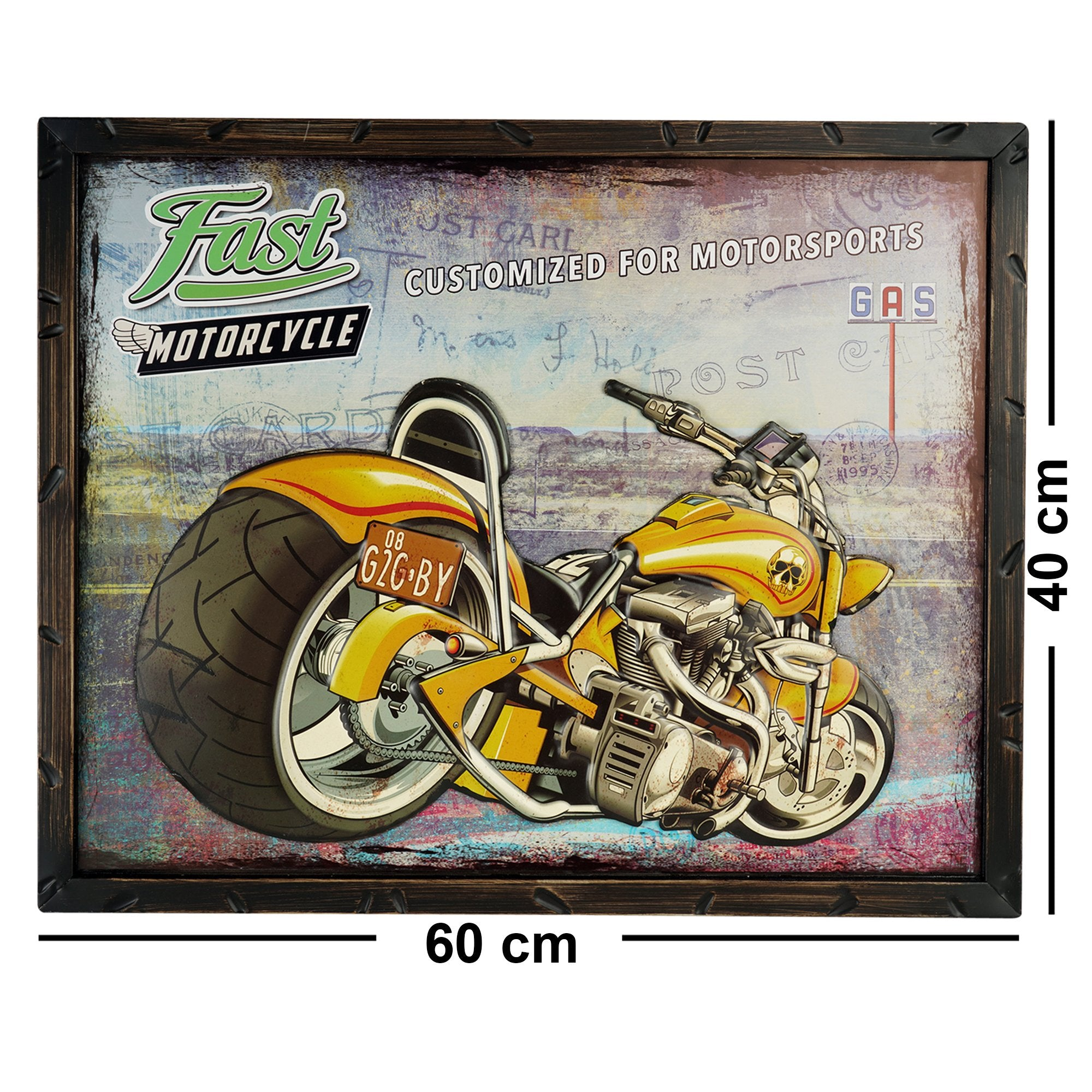 Fast Motorcycle Wall Plaque - Teak Tale