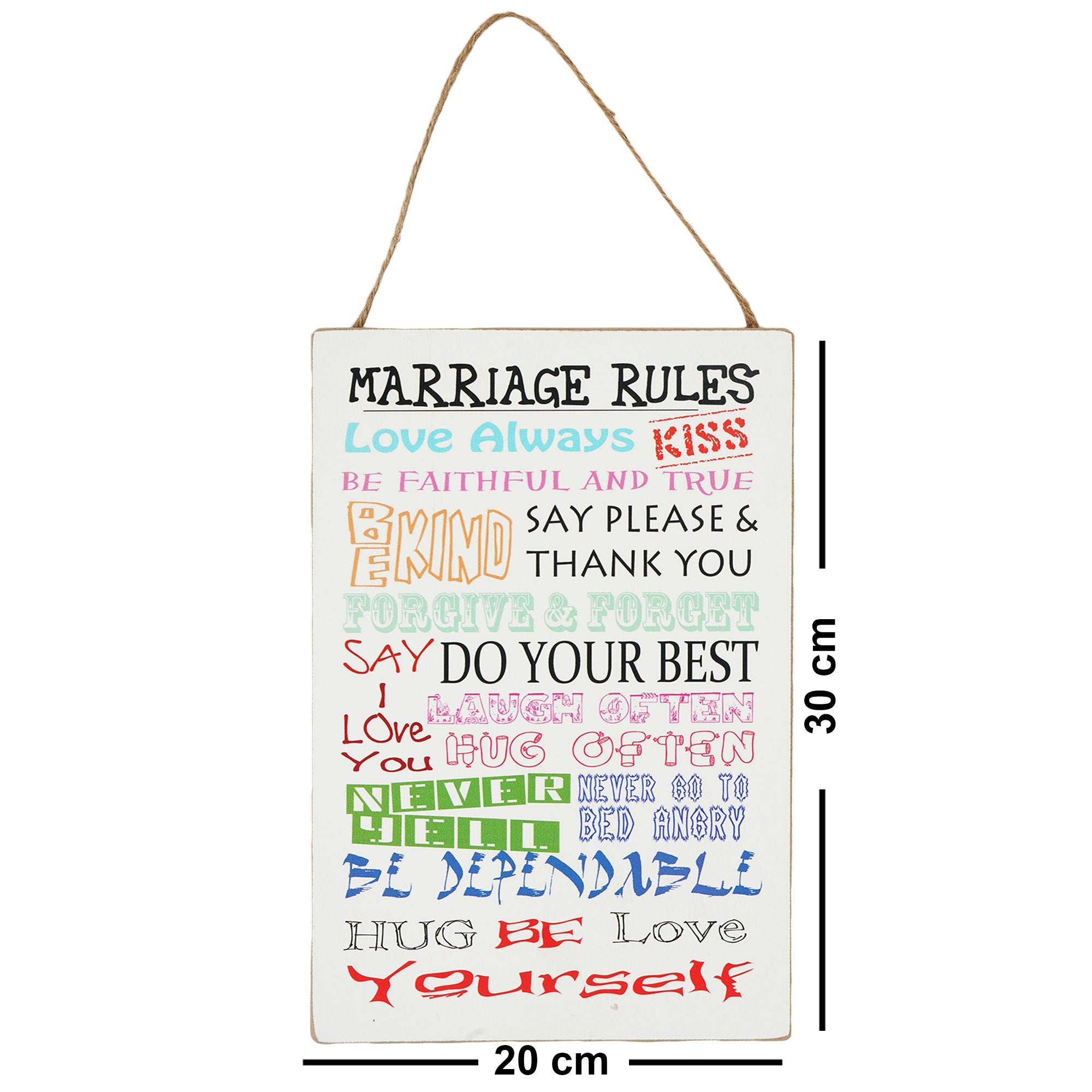 Marriage Rules Wall Plaque - Teak Tale