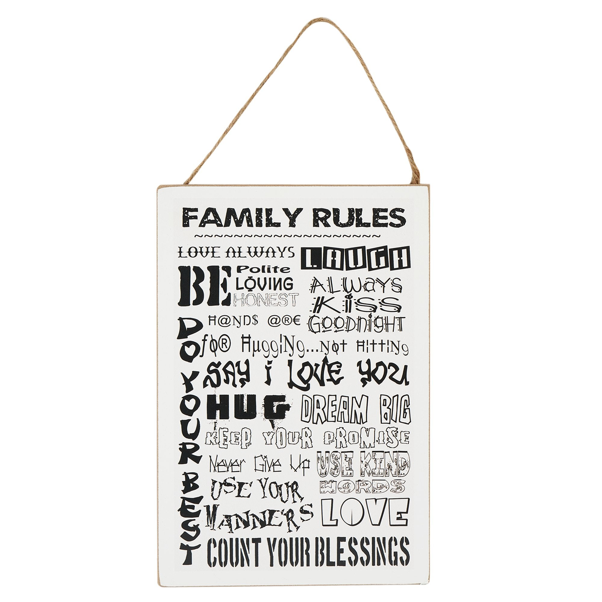 Family Rules Wall Hanging - Teak Tale