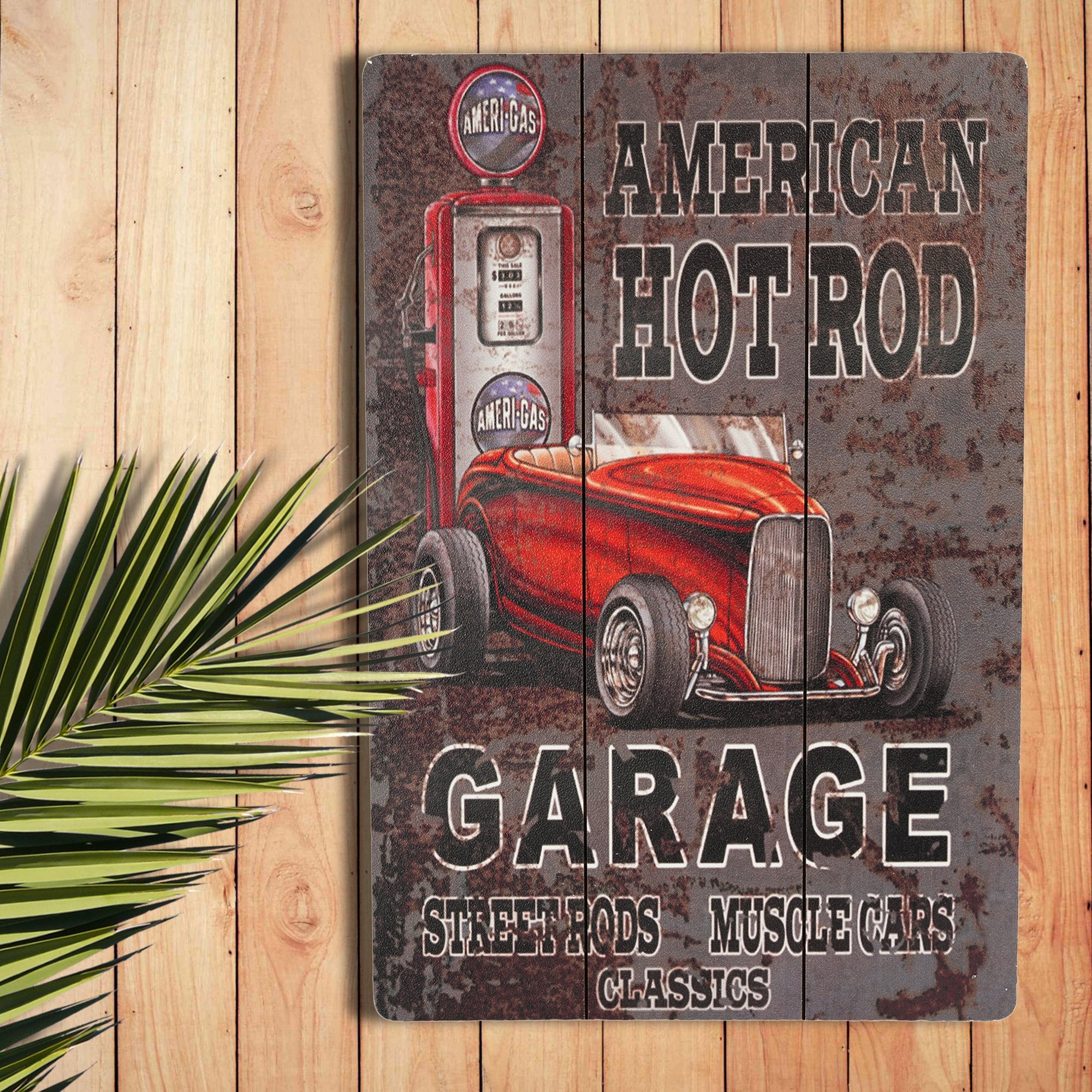 American Hot Rod Wall Plaque - Teak Tale