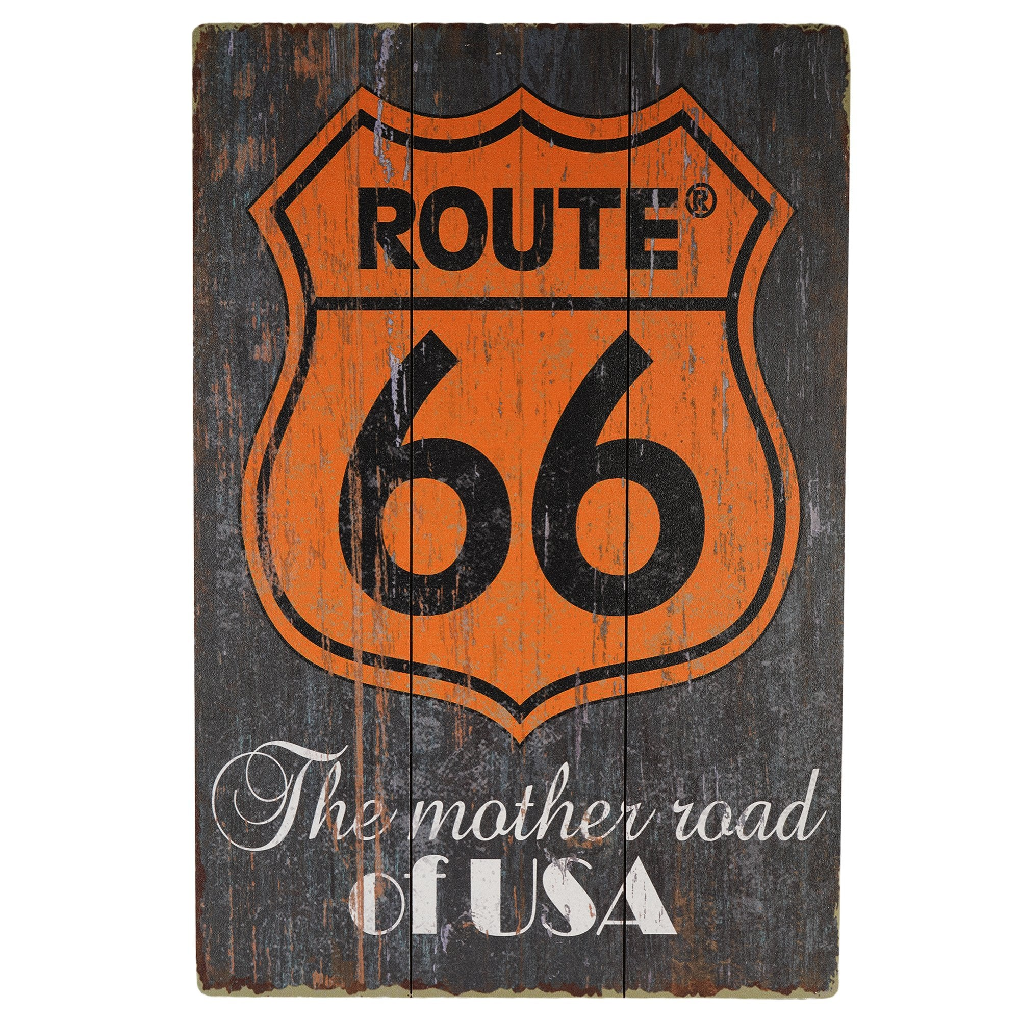 Route 66 -U.S.A. Wall Plaque - Teak Tale