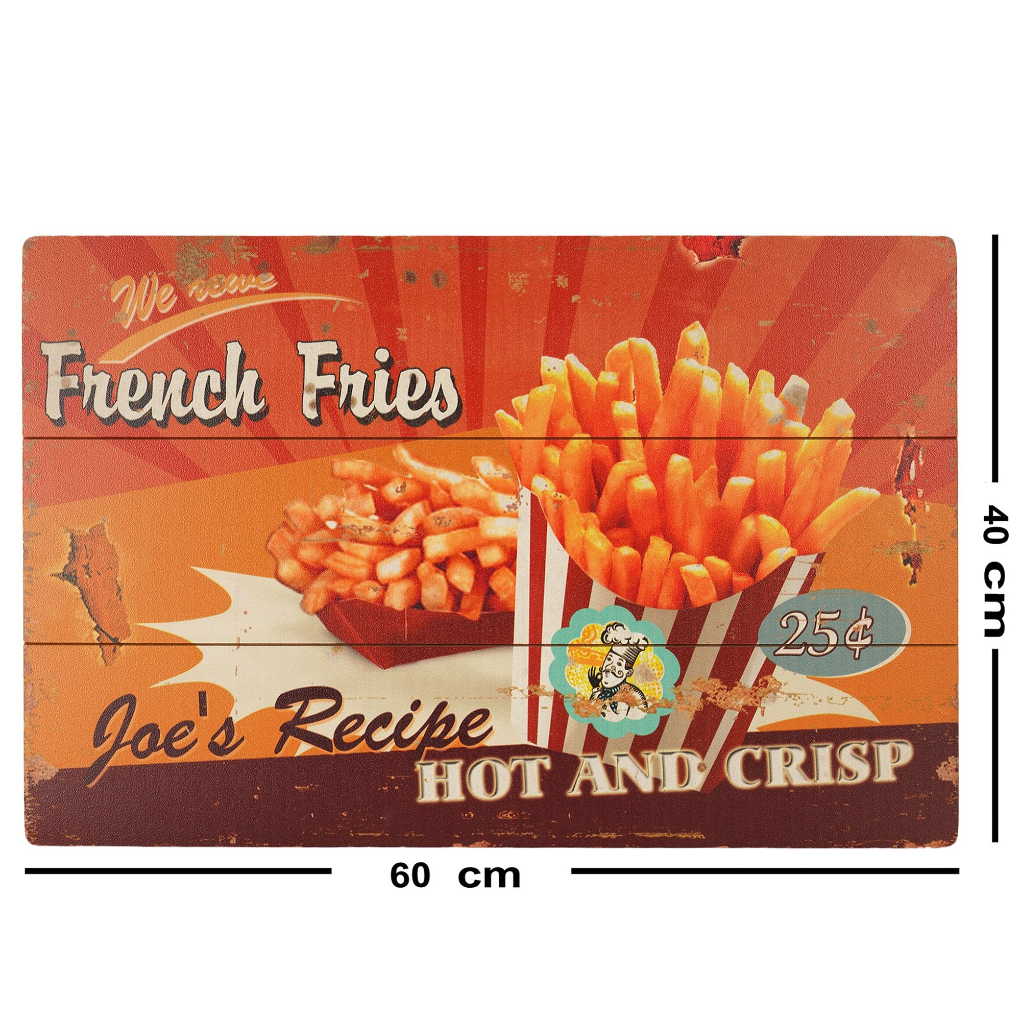 French Fries Wooden Wall Plaque