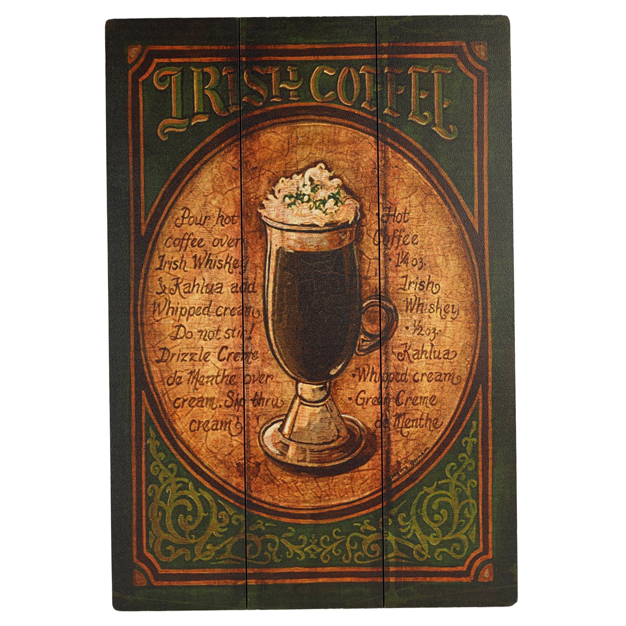 Irish Coffee Wooden Wall Plaque