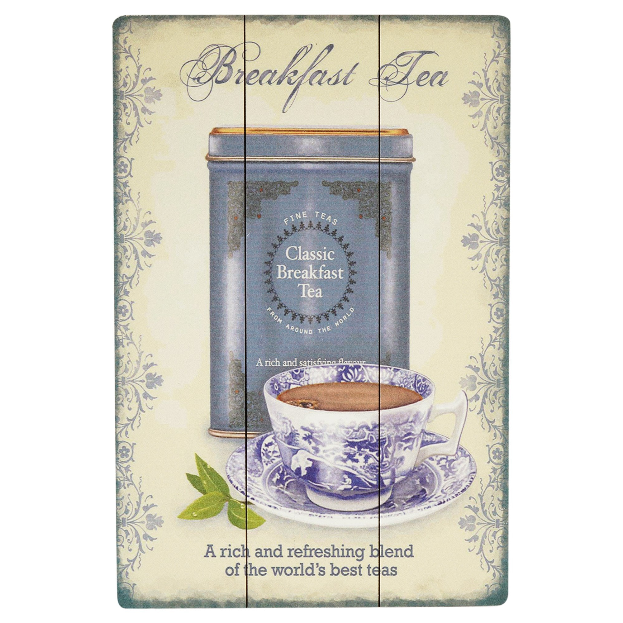 Breakfast Tea Wooden Wall Plaque - Teak Tale