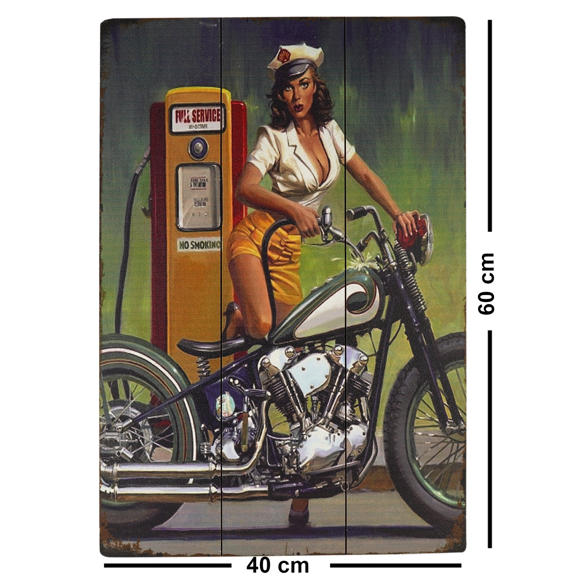 Petrol Pump Wall Plaque - Teak Tale