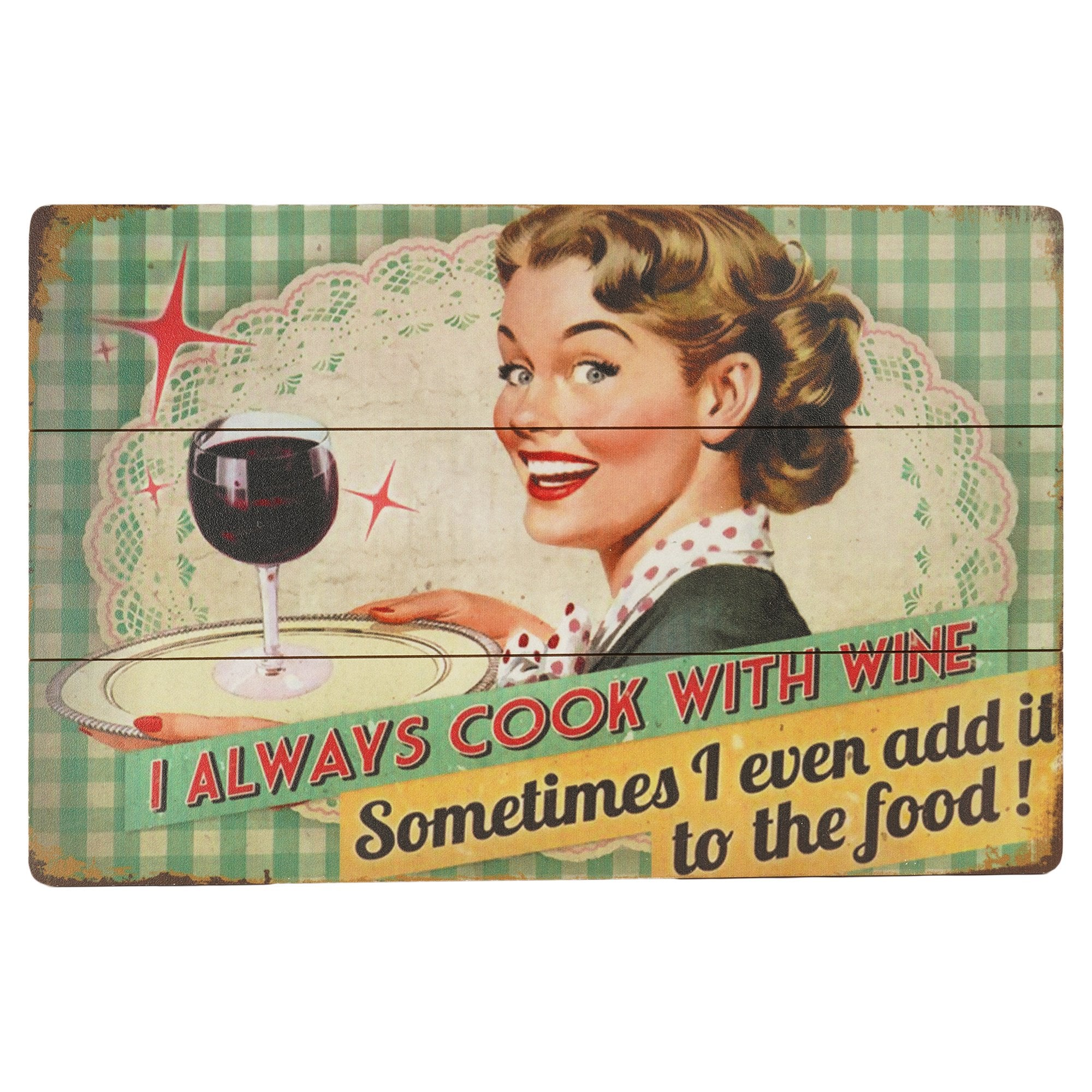 Cook With Wine Wall Plaque from Teak Tale Home Decors
