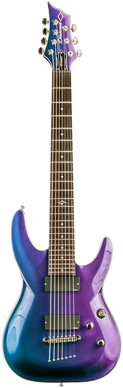 Diamond Barchetta ST 7 String Electric Guitar - Galaxy Purple Extended Scale