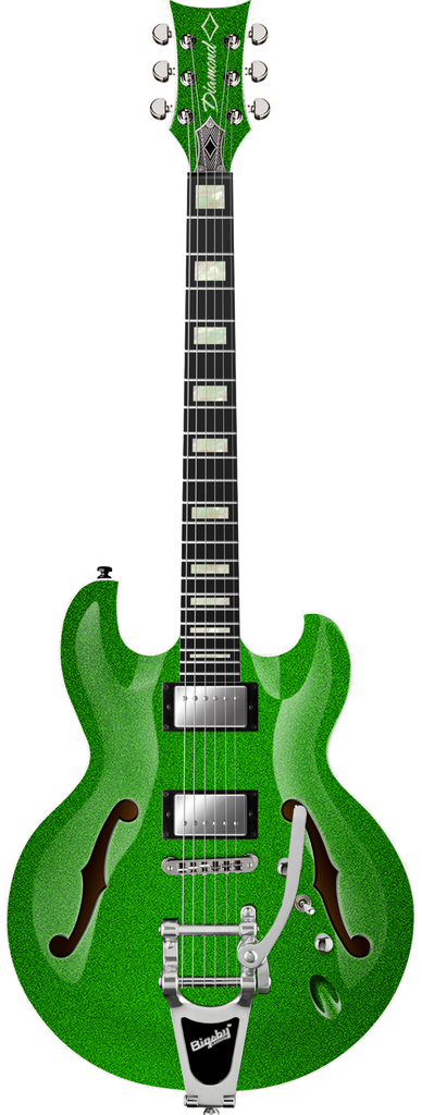 Diamond Imperial SH Semi-Hollow with Bigsby Electric Guitar - Lime Green Sparkle