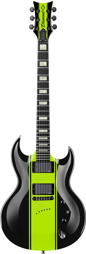 Diamond Renegade EM Electric Guitar - Black and Hemi-Green