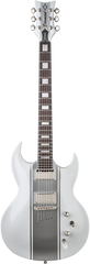 Diamond Renegade ST Plus Electric Guitar - White with Silver Stripes