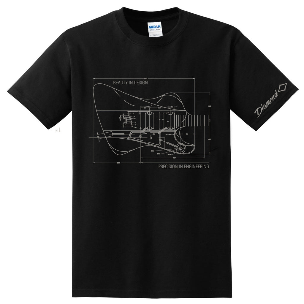 Diamond Guitars Precision in Engineering Schematic T-Shirt