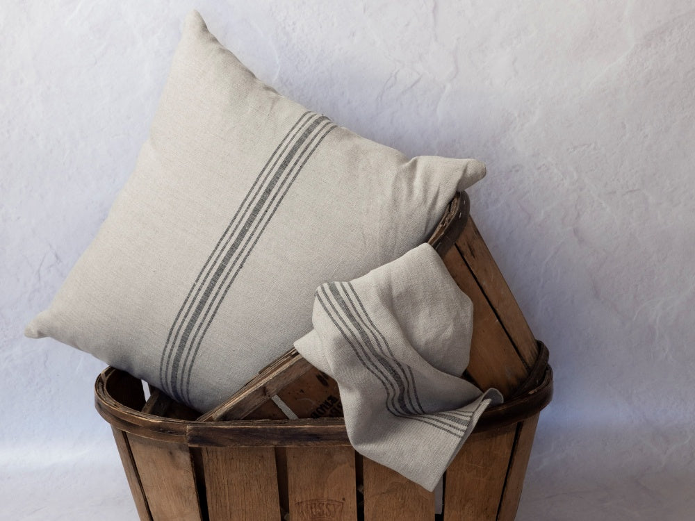 Henriette Linen Cushion 45cm - Black Stripe - FrenchWillow