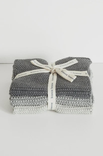 Washcloths Grey - Set of 3 - FrenchWillow