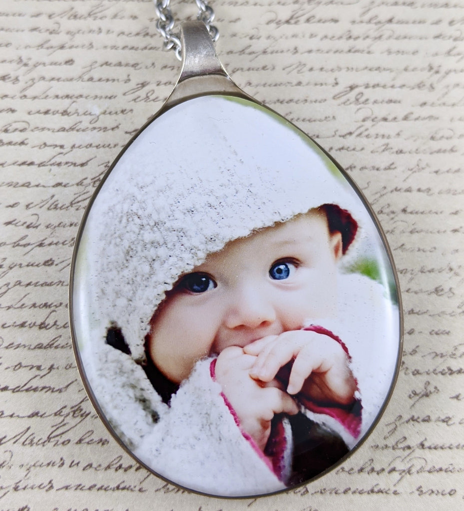 Custom Recycled Spoon Necklace - Choose Your Own Photo - FrenchWillow