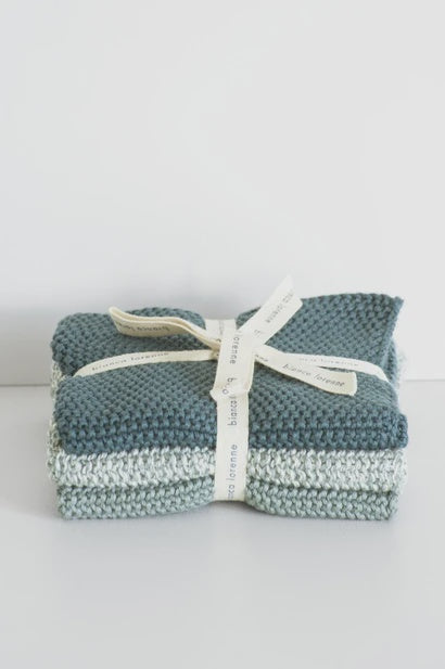 Washcloths Teal - Set of 3 - FrenchWillow