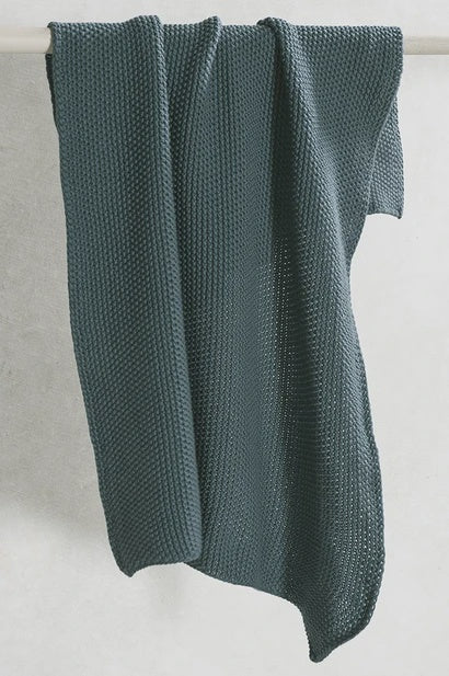 Knitted Hand Towel - Teal - FrenchWillow