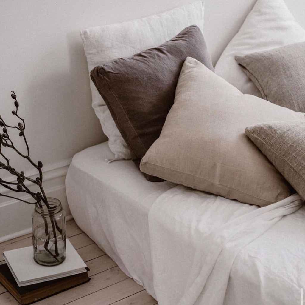 Lightweight Woven Linen Cushion - Stone - FrenchWillow