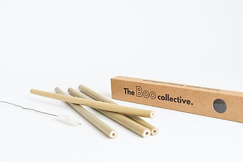 Bamboo Straws 4 Pack With Cleaning Brush - FrenchWillow