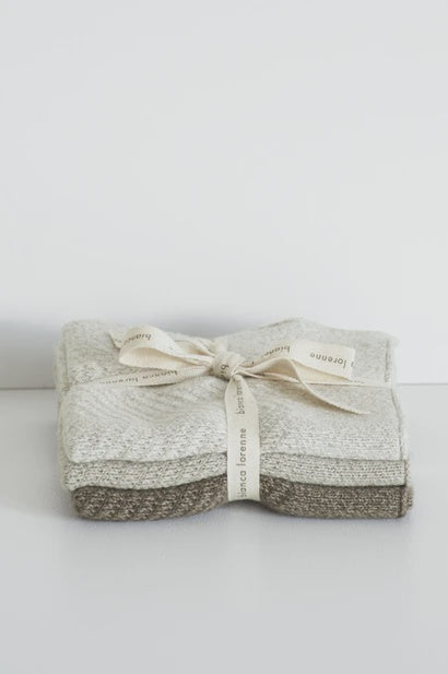 Washcloths Cheval Taupe - Set of 3 - FrenchWillow
