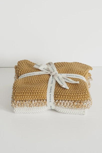 Washcloths Ochre - Set of 3 - FrenchWillow