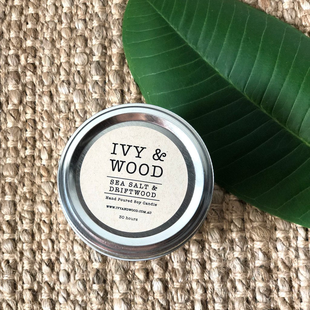 Sea Salt & Driftwood Soy Candle - Small Mason Jar - FrenchWillow