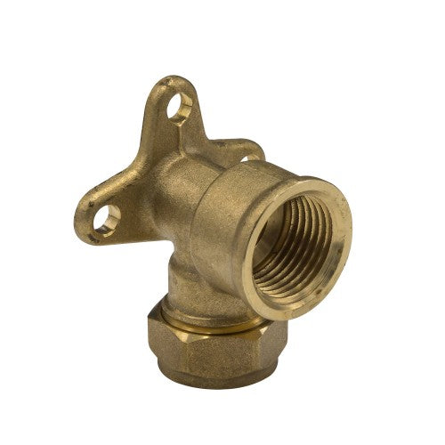 Brass Compression Wallplate Elbow