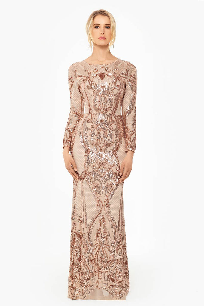 Ivy Stretch Sequin Long Sleeve Gown