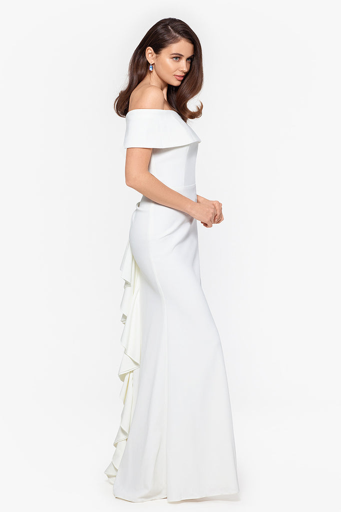 Ellie Long Off the Shoulder Scuba Crepe Ruffle Back