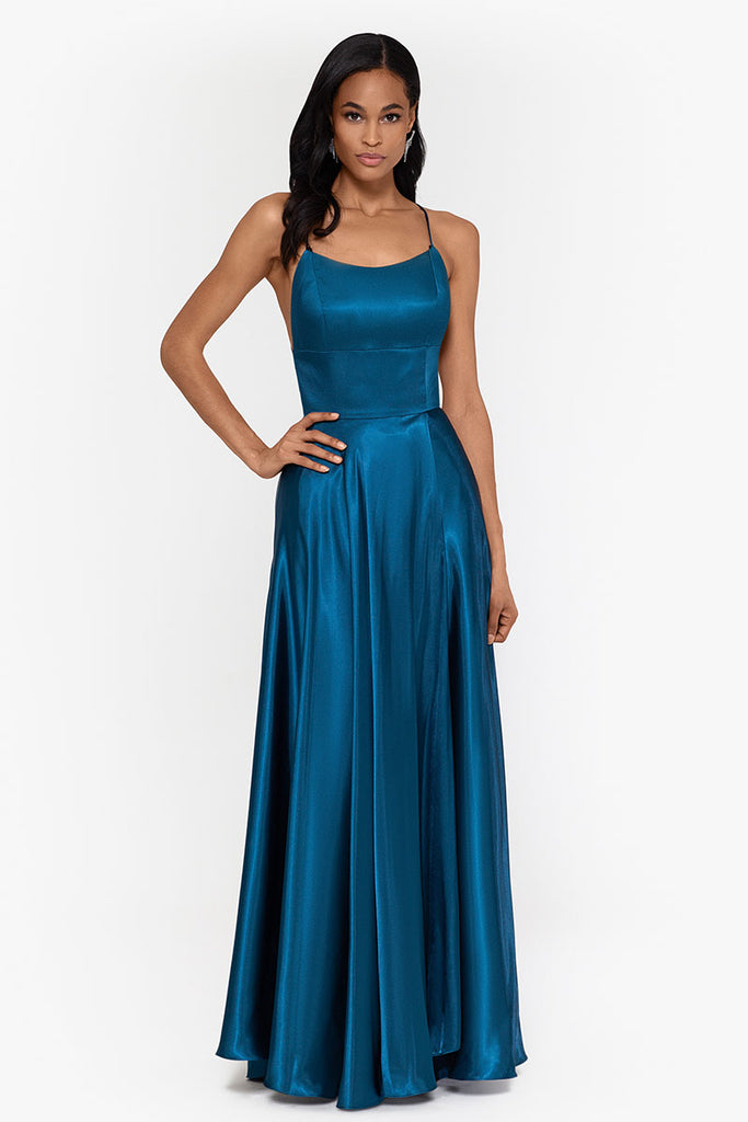 Charlotte Long Satin Wrap Gown with Tie Back