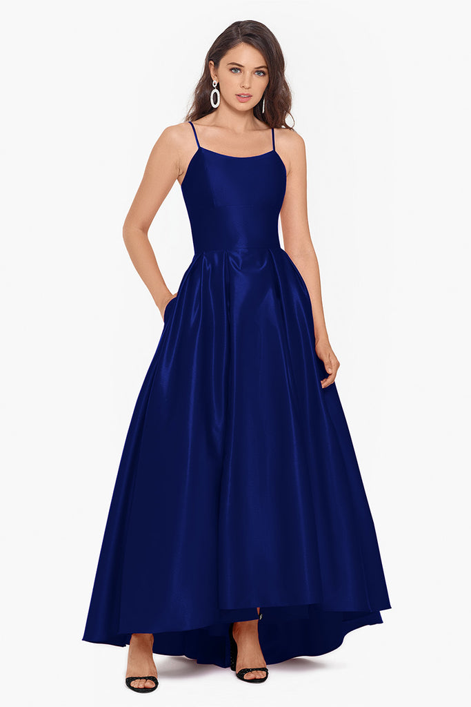 Katie Long Hi Lo Scoop Neck Satin Gown