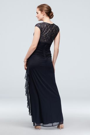 Anya Long Gown Lace Detail and Cap Sleeves