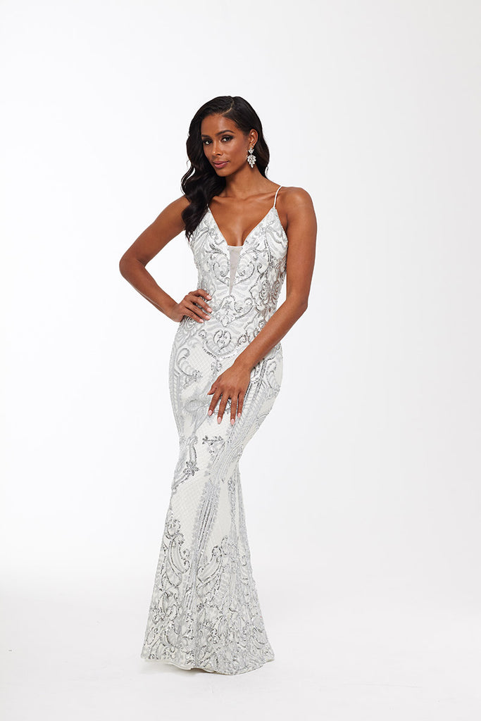 Anne Sequin Embellished Mesh V-neck Long Gown