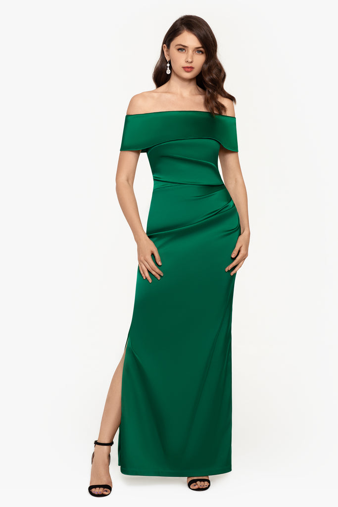 Aviva Off The Shoulder Satin Gown