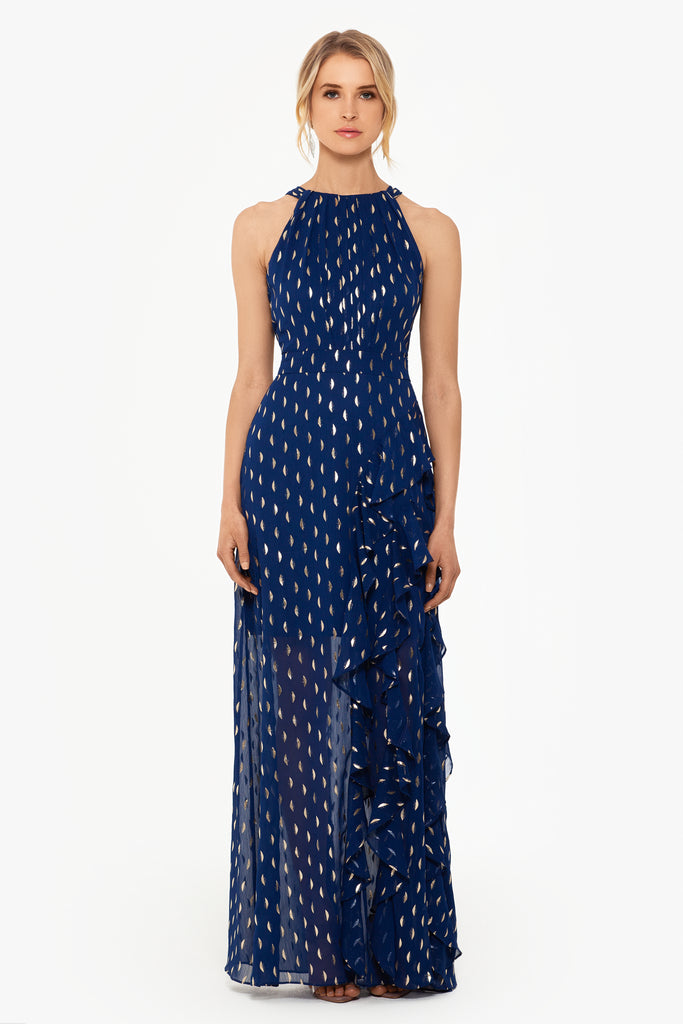 Becky Chiffon Foil Print Side Ruffle Gown