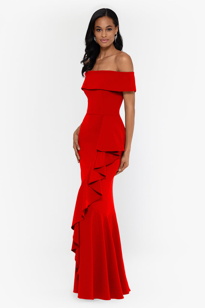 Carina Off the Shoulder Gown with Ruching Detail