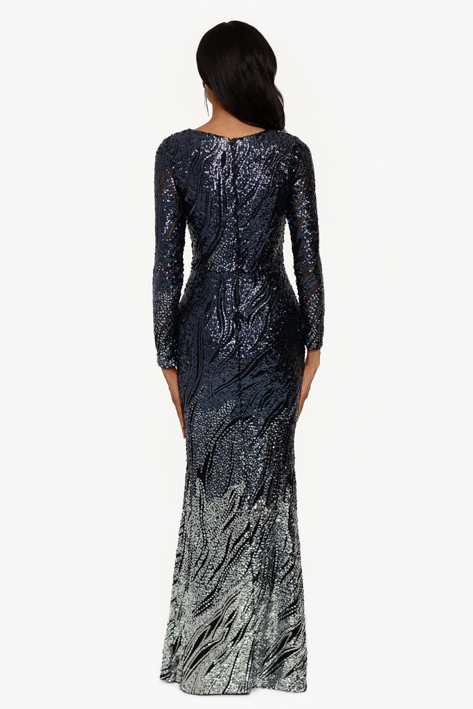 Hattie Long Sleeve Sequin Gown