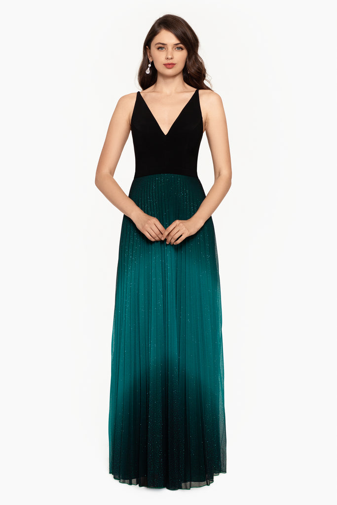 Charlie Long V-Neck ITY With Pleated Ombre Skirt Dress