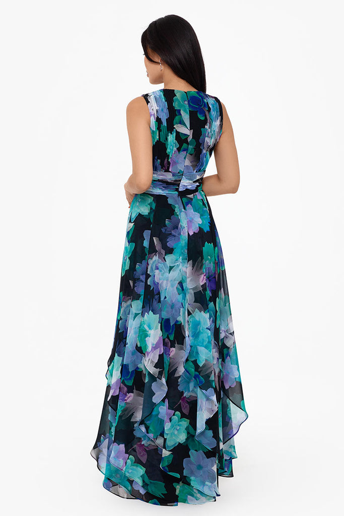 Debra Long V-Neck Corkscrew Print Chiffon Dress