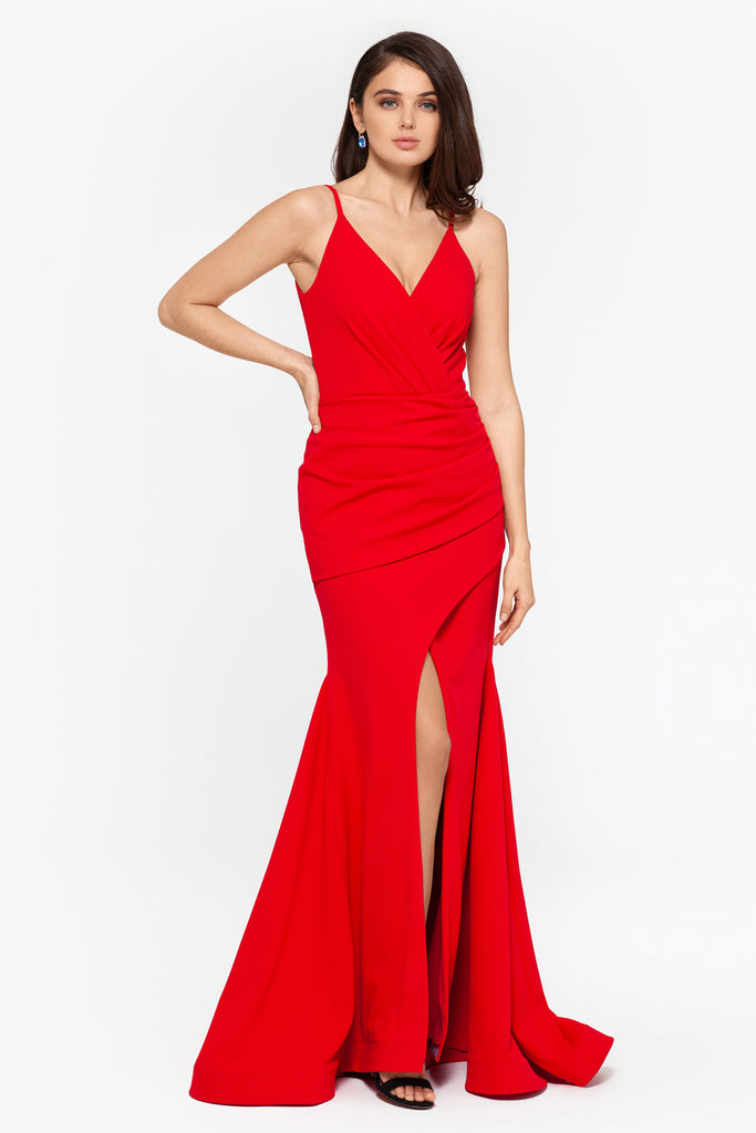 Tina Long V-Neck Scuba Crepe Slit Dress