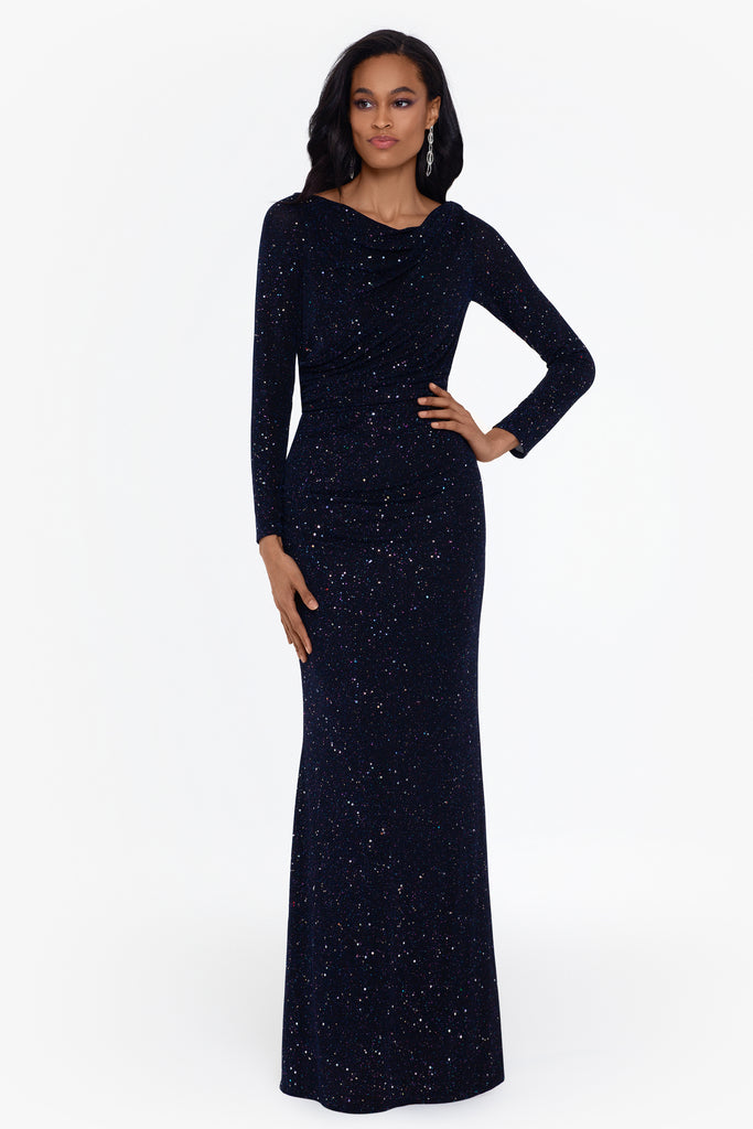 Cara Long Sleeve Metallic Knit Ruched Gown