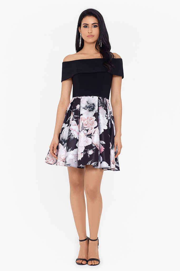 Juliette Short Off The Shoulder Print Party Dress